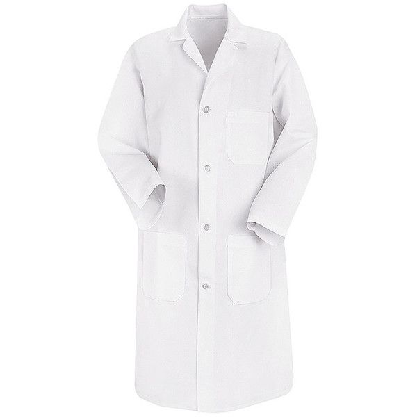 Red Kap 41.5 inch Three Pockets Men Long White Lab Coat ❤ liked on Polyvore featuring men's fashion, men's clothing, men's outerwear, men's coats, mens white coat, mens long coat and mens coats