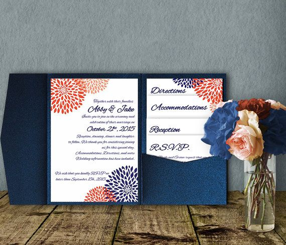 Coral Navy Wedding Invitation Template, Invitation Suite, Wedding Invitation,  Pocket Template, DIY Wedding Invitation, Pocketfold