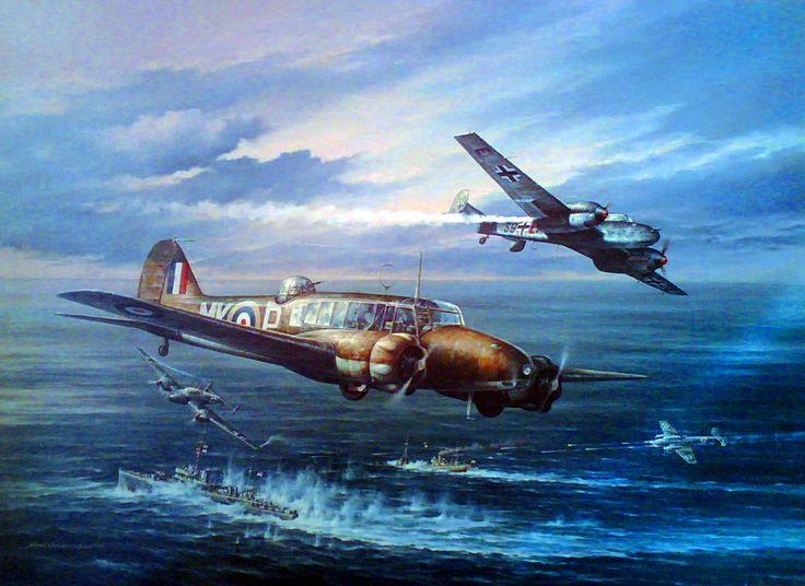 Over the Channel, by Marii Chernev (Avro Anson vs Messerschmitt Bf 110)