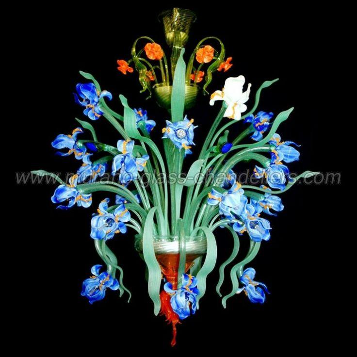 murano glass | Iris flowers 24 lights Murano glass chandelier