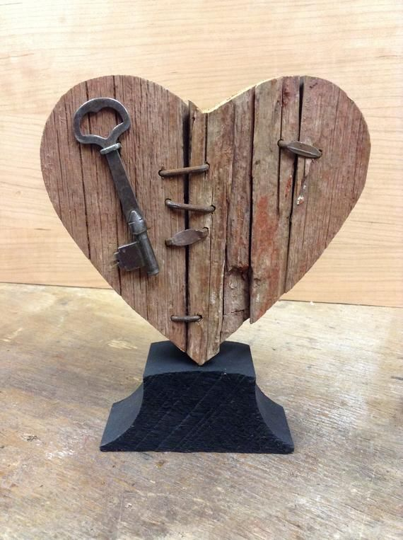 Mended Heart Wood Broken Heart With Vintage Key Rustic Heart Wooden Heart In 2020 Wooden Hearts Scrap Wood Projects Vintage Keys