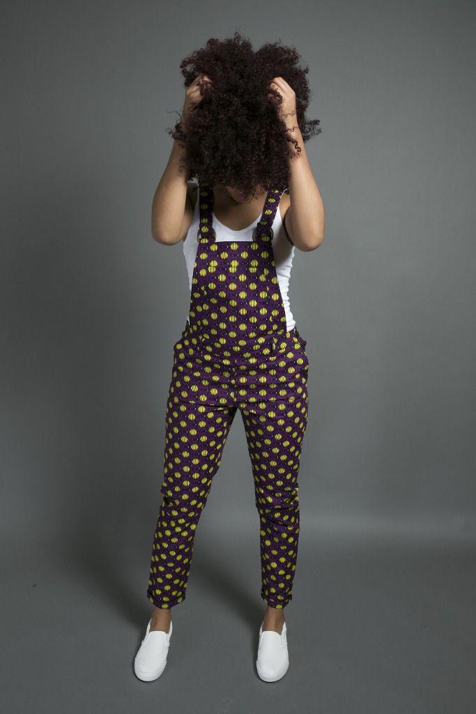Salopette coupe cigarette en wax Africain : Pantalons, jeans, shorts par openya-couture