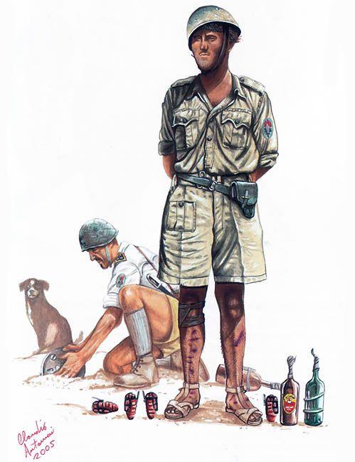 XXXI Guastatori (Ingegnieri d'assalto) Battaglione con accando delle granate esplosive e incendiare, El Alamein, 1942.