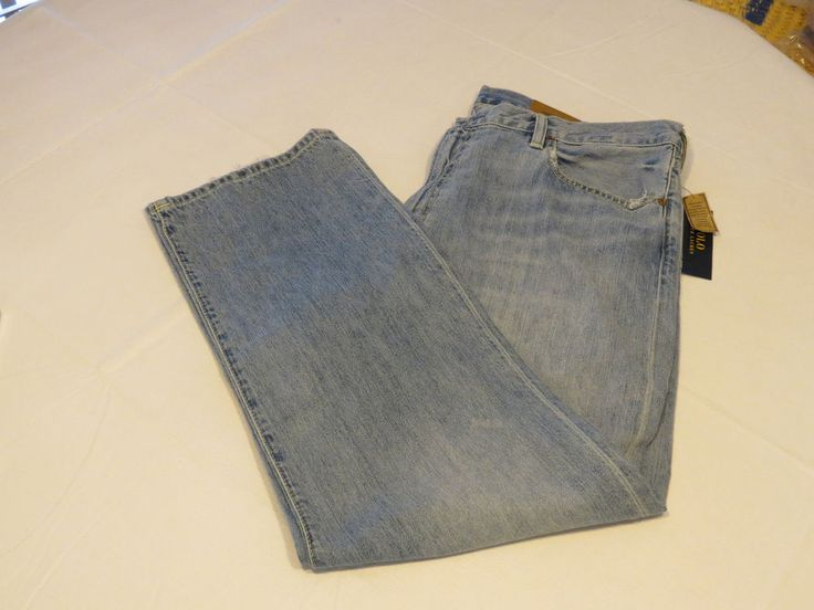 Mens Polo Ralph Lauren Thompson Relaxed 38** X 30 cotton blue denim pants Jeans #PoloRalphLauren #Jeans
