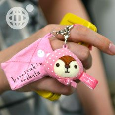 pined by nidnirand /June 2014*Strapya World : San-X Kireizukin Seikatsu Plush Doll Cleaner Cell Phone Strap (Raccoon Ma)