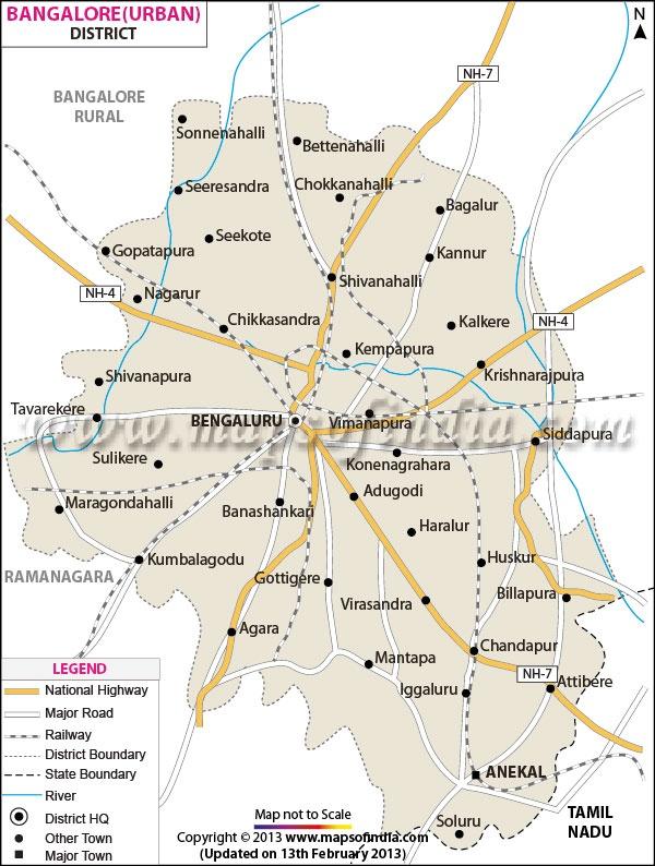 District Map of Bangalore (Urban)