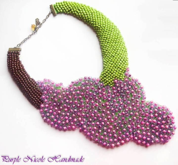 Lilac Flowers - Handmade Statement Necklace by Purple Nicole (Nicole Cea Mov). Materials: colored small glass beads, small acrylic flowers, felt. Inspired by a lilac branch.