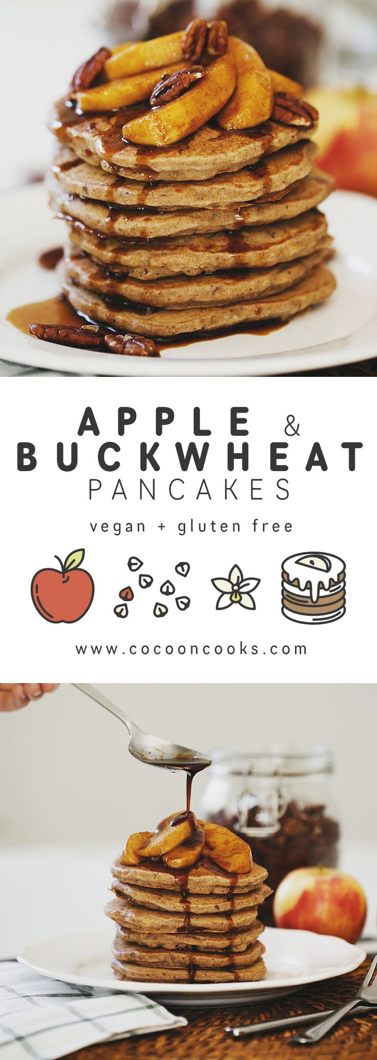 Healthy Vegan Apple Buckwheat Pancakes with Coconut Caramel Apples. #recipe #blog #healthy #easy