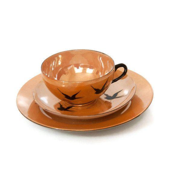 rare vintage 15 piece lusterware cup and saucer set orange. Black Bedroom Furniture Sets. Home Design Ideas