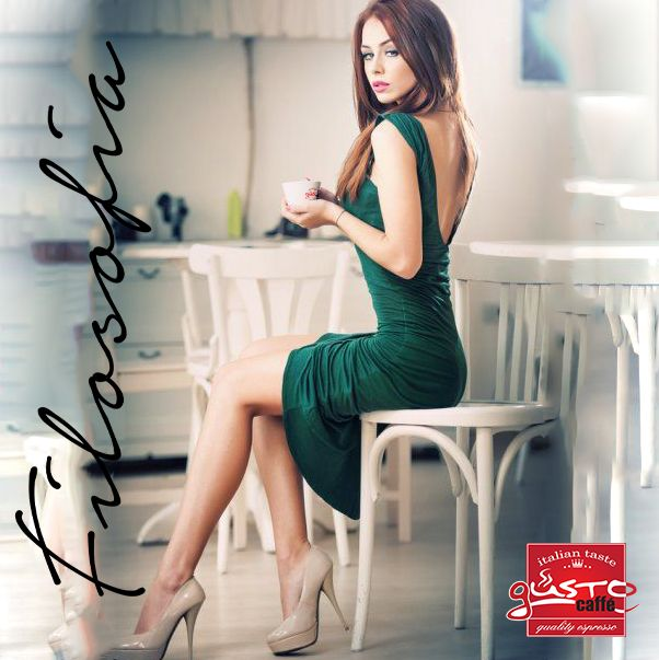 #sexy #woman #drinking #Gusto #Filosofia #new #espresso #coffee www.gustoproducts.gr εσπρεσσο καφες