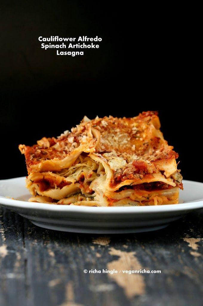 Cauliflower Alfredo Spinach Artichoke Lasagna. Vegan Nut-free Recipe - Vegan Richa