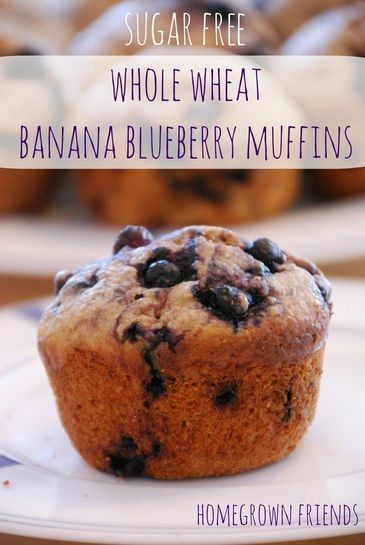 Free of refine sugar, healthy whole wheat banana blueberry muffins. So easy to make!