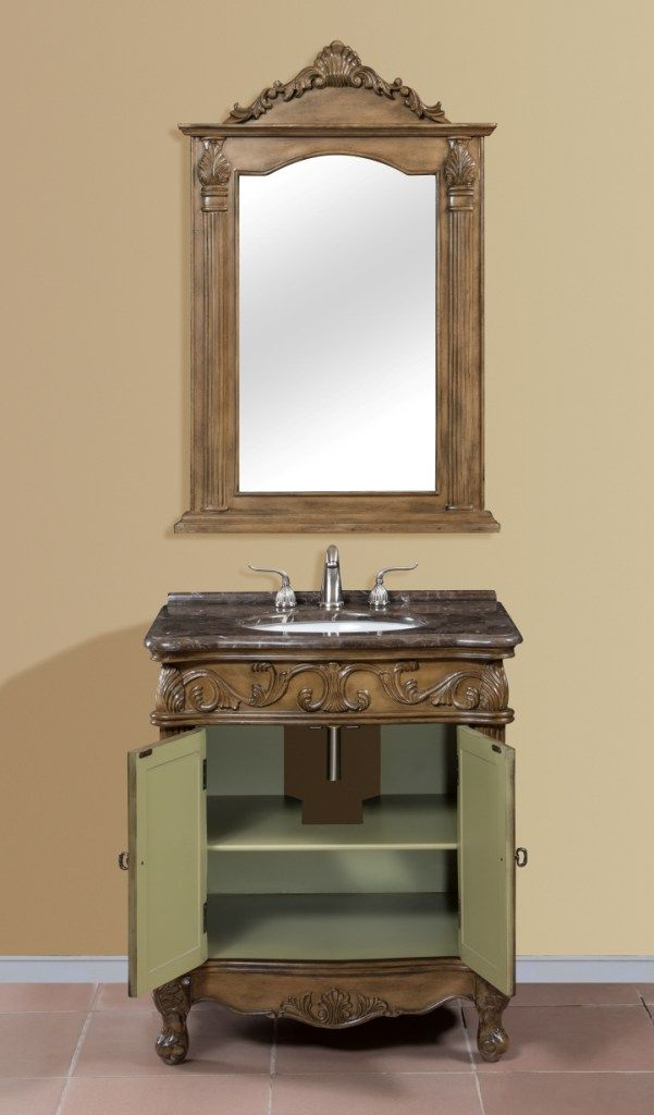 bathroom vanity with doors opened