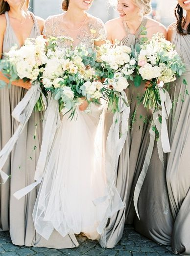 Timeless grey wedding theme with stunning florals and Twobirds Dresses