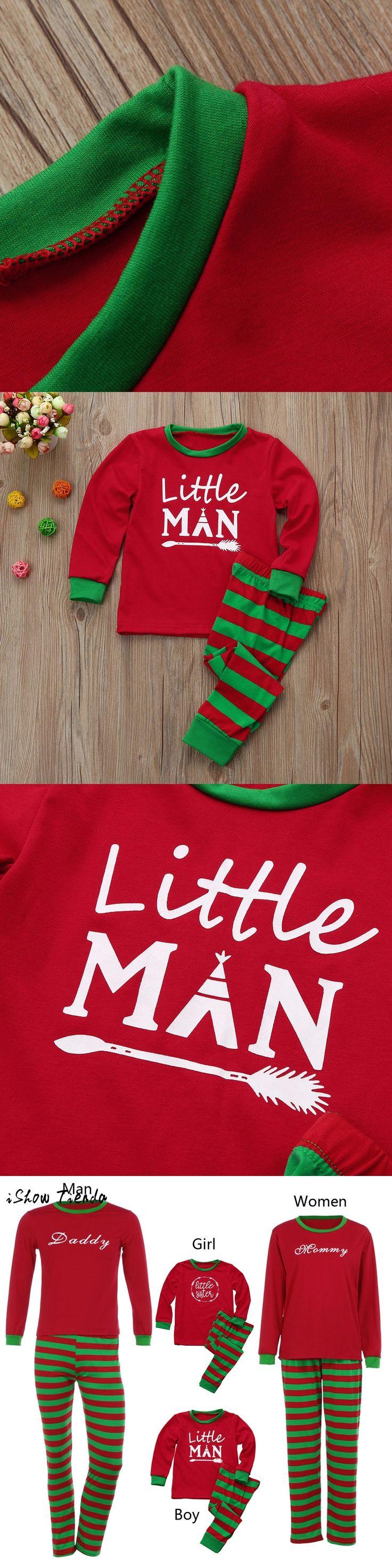 Women&Kid Boy Family PJS Christmas new year costume Pajamas Print Blouse long sleeve top+Santa Pant Striped Outfit Clothing Set