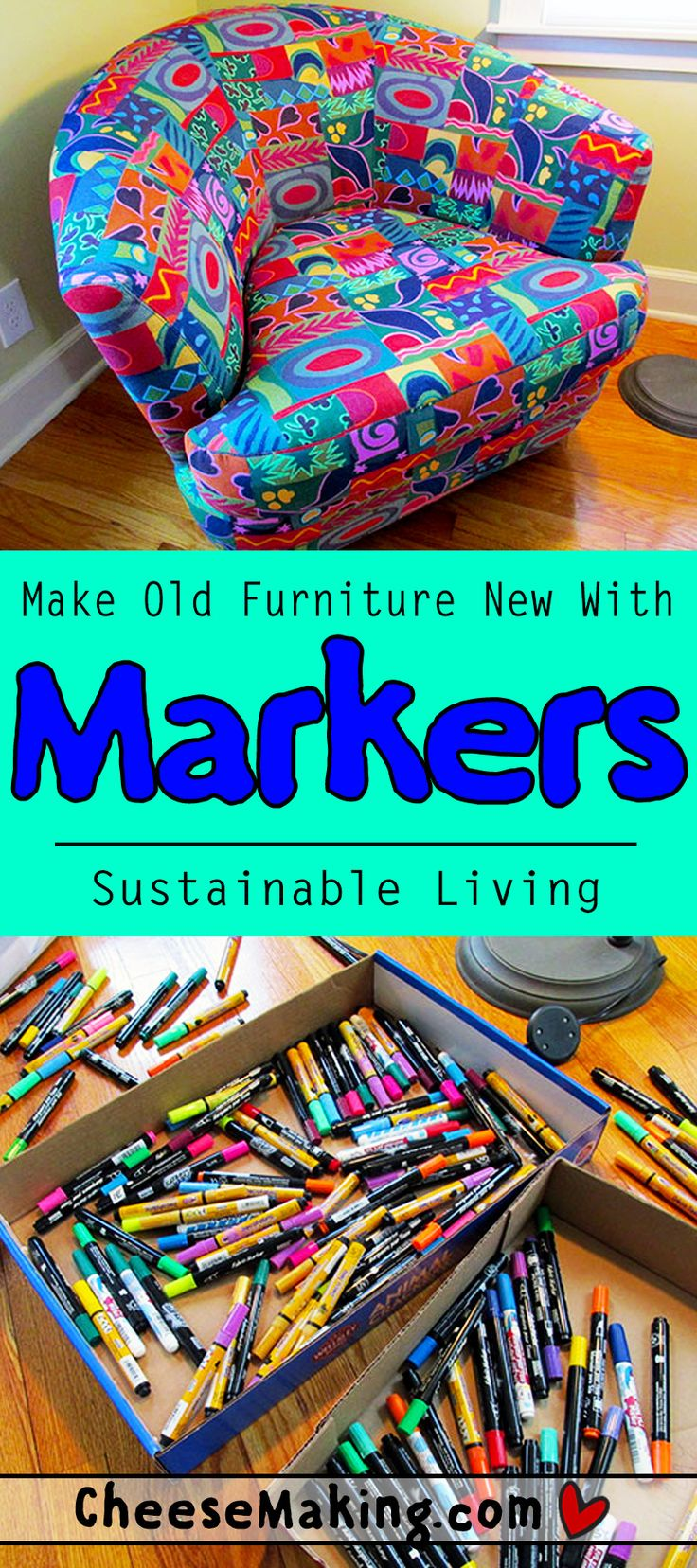 How to revive an old Salvation Army chair with fabric markers! This might officially be our favorite way to make an old chair look new again.