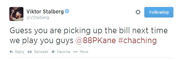 Viktor Stalberg of the Chicago Blackhawks on teammates Jonathan Toews & Patrick Kane's new contract.  | Hockey Player Tweets