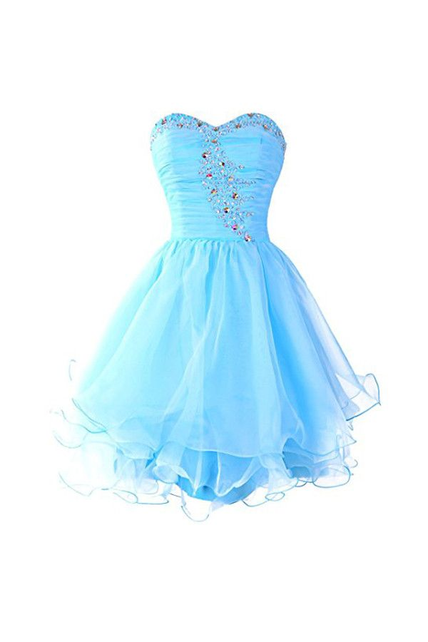 Sweetheart Organza Blue Homecoming Dresses Prom Dresses PG054