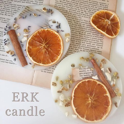 Natural ~ ~ ♡ Even though I made it myself, I like this a lot ♡ lol Herb and Orange combination (* ^^ *) For natural lovers ♡ By the way this is beeswax!  ︎ have air purification effect (o ^^ o) # candle # aroma # candle # aroma # natural # herb # organic # wax bar # wax sachet # orange # ERKcandle