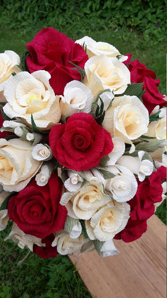 Bridal Bouquet Red Light Ivory_Ivory Bride Bouquet by moniaflowers