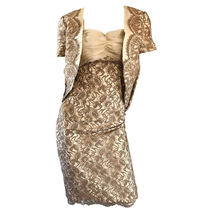 Sensational 1950s Demi Couture Nude Taupe Tan French Lace 50s Dress + Bolero For Sale