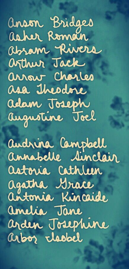 Name combinations starting with A    Hand-drawn name art by Meg at pinterest.com/meggiemaye.