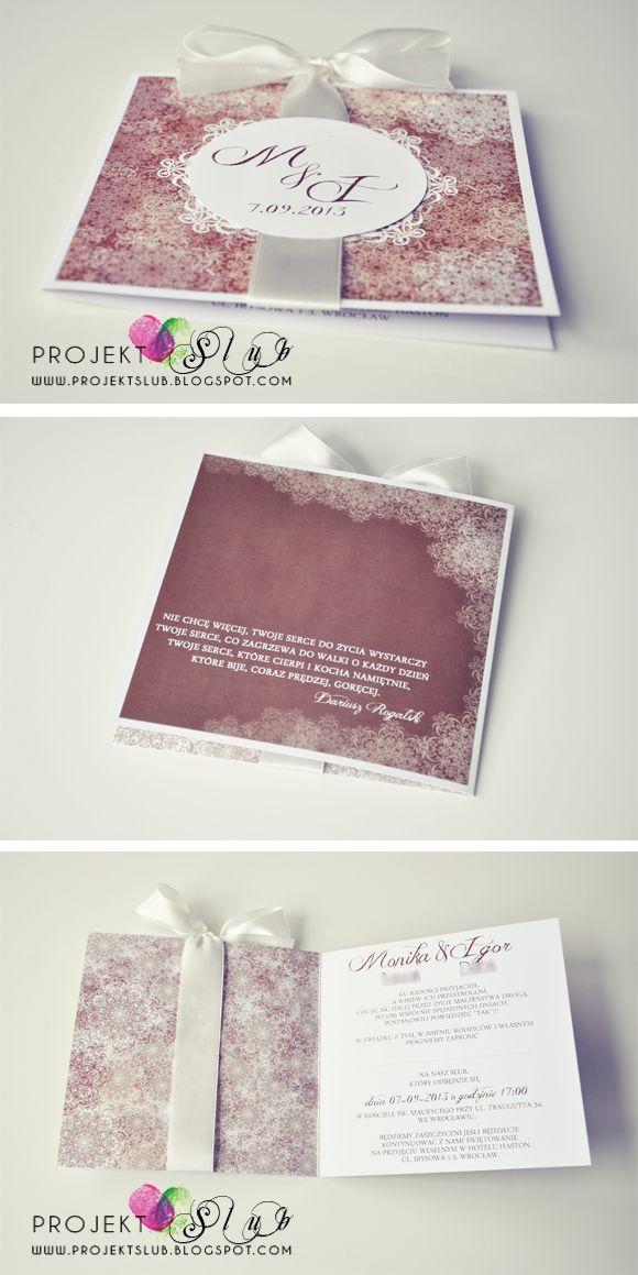 Oryginalne Zaproszenia ślubne Projekt ślub Nietypowe Zaproszenie