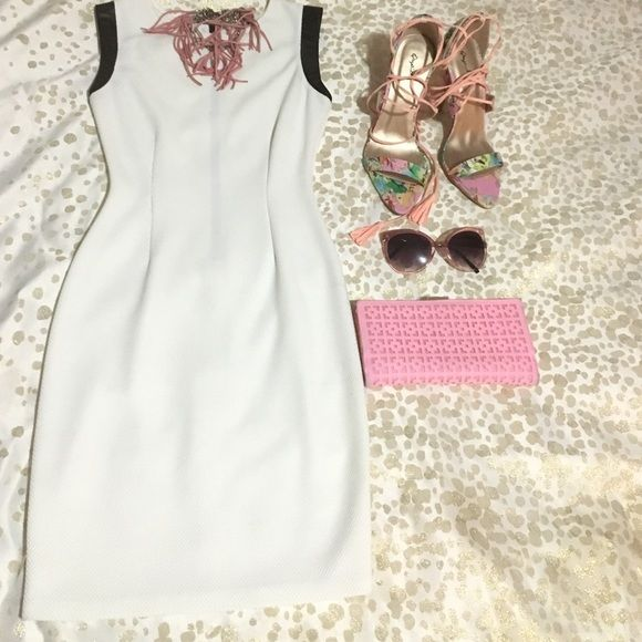 Bar III Bodycon dress Super sexy, true to size with stretch material. White with leather cut off sleeves. Bar III Dresses Midi