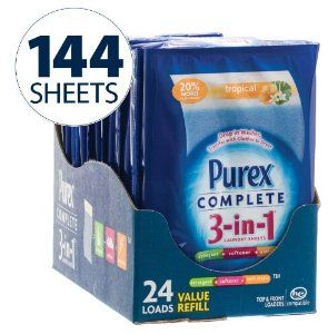 Purex Complete 3 in 1 Tropical Escape Scent (Big Value 144 Sheets) by Purex. $49.79. Acts as a detergent, softener and antistatic. The all-in-one laundry solution. Can be dropped in a washer and transferred with clothes to the dryer. Purex Complete 3 in 1 Tropical Escape Scent (Big Value 144 Sheets). 144 loads. Detergent + softener + anti-static. 7 x 4.5 inches. Powerful 10x concentrated detergent with . Drop in washer, transfer with clothes to dryer. For all machines...