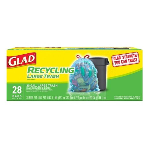 I'm learning all about Glad Large Drawstring Recycling Trash Bags 30 Gallon at @Influenster!
