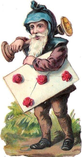 Oblaten Glanzbild scrap die cut chromo Zwerg Gnome dwarf Brif letter