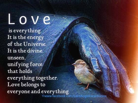 Love is everything. It is the energy of the Universe. It is the divine, unseen, unifying force that holds everything together. Love belongs to everyone and everything.