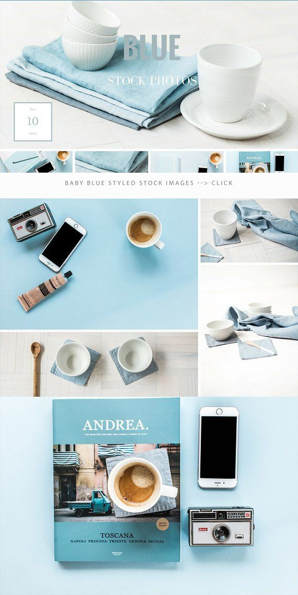 Baby blue styled stock photos for bloggers, blog headers, website photos, styling brand images by Petra Veikkola on @creativemarket