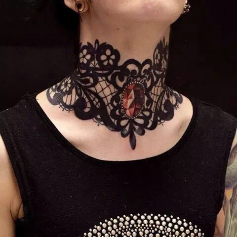 Lace gem neck/throat tattoo. Around the leg perhaps