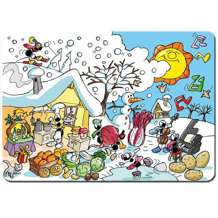 """Tovaglietta """"Inverno""""   Le Formiche di Fabio Vettori #formiche #colazione #colori #colors #gift #tovaglietta #stagioni #inverno #neve #snow #winter #food"""