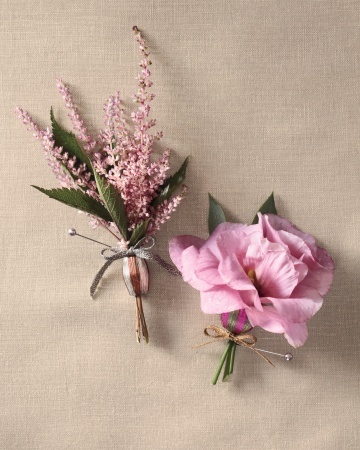 Light up your groom's lapels with a sprig of astilbe or a couple of garden lisianthus threaded onto a metal bead