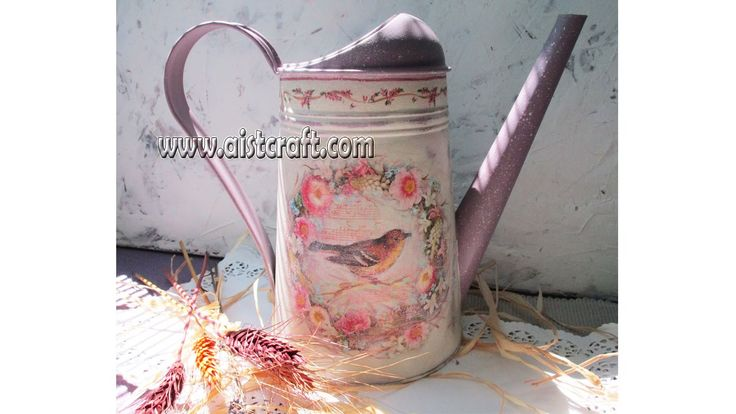 Decoupage tutorial on metal - DIY. Watering can decoration idea. Shabby...