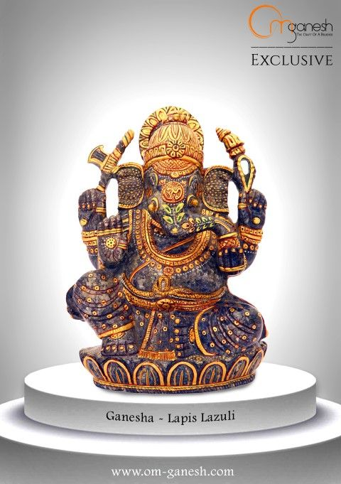 His powerful aura & your eternal faith in Him will protect your home from all things evil. Ganesha #Powerful #Idol #Eternal #Faith #Protect #Home #All #Evil #LapisLazuli #OmGaneshCrafts