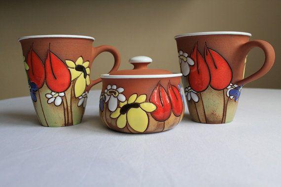 Coffee mug with daisies sunflowers and poppies by MugsAtFirstSight