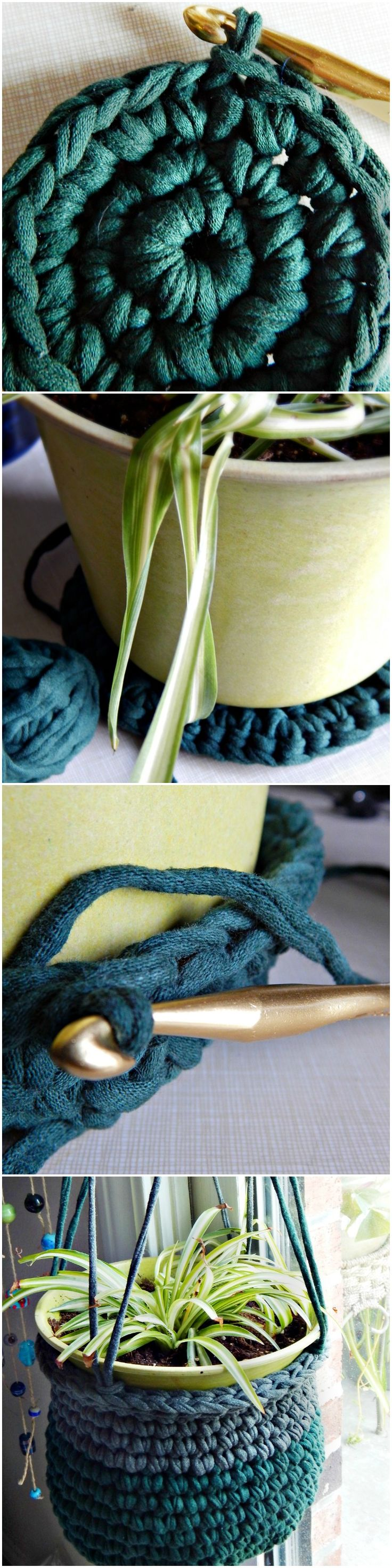 T-shirt Yarn Plant Hanger - Free Pattern from Morale Fiber Blog