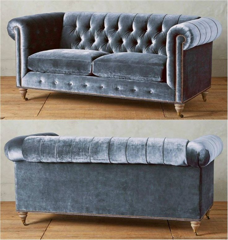 Chesterfield sofa in richly-hued blue velvet upholstery. Features tufted back, removable cushion, hardwood frame for sturdiness, and turned wood legs in espresso finish. This beautiful sofa will compliment any living room decor but will stand out most in contemporary, modern, or Hollywood regency-inspired interior design.