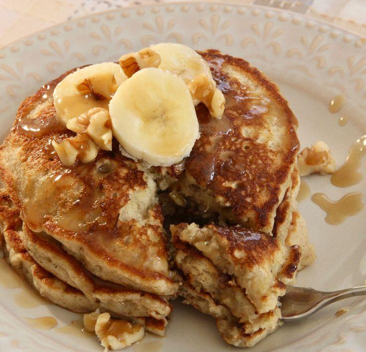 Treat your family to Easy Banana Nut Pancakes, and watch them disappear.  #MyAllrecipes #AllrecipesAllstars  #AllrecipesFaceless