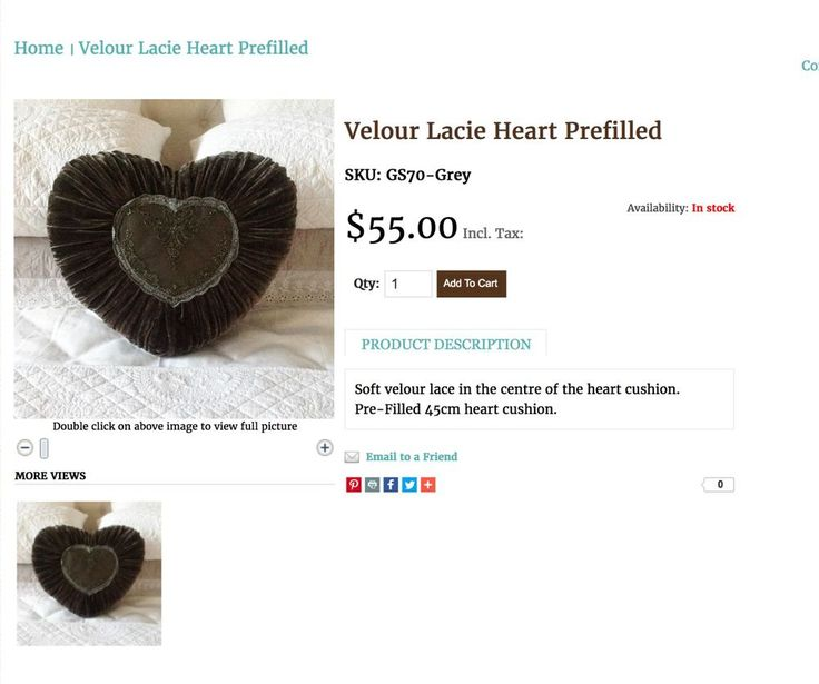 Gothic Grey Black Lace Velvet Heart Cushion Toss Bed Sofa Pillow CLEARANCE New