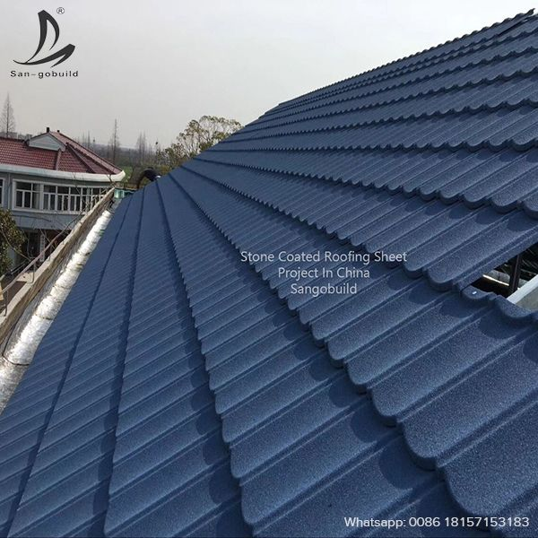 Stone Coated Roofing Sheet Projects In North Of China It Is Long Lasting Roofing Materials With Lightweig Sheet Metal Roofing Steel Roofing Metal Roof Tiles