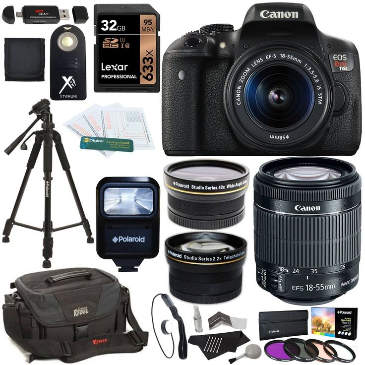 Amazon.com : Canon EOS Rebel T6i Digital SLR Camera + EF-S 18-55mm IS STM Lens + Polaroid HD .43x Wide Angle & 2.2X Telephoto Lens + Lexar 32GB Memory Card + Tripod + 58mm Filter Kit + Canon Bag + Accessory Bundle : Electronics