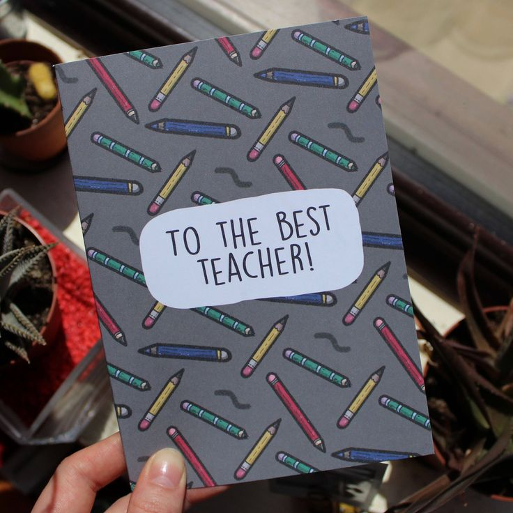 Teacher Thank You Greetings Card // To The Best Teacher // School Thanks // A5 + Paper Envelope Included by TheArtCaveCreations on Etsy