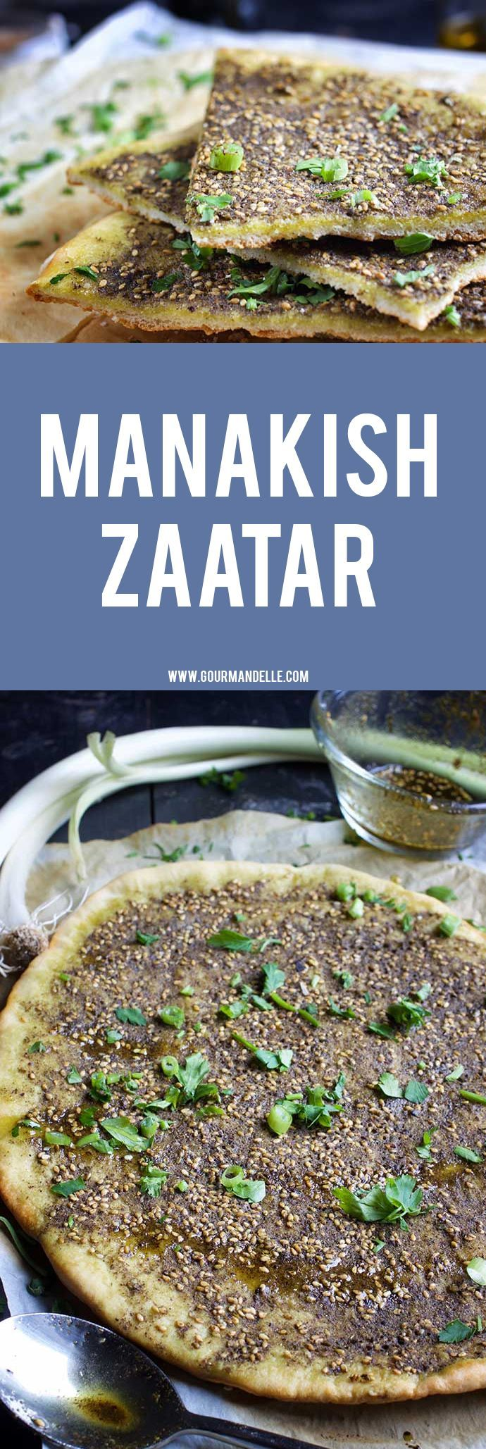 Manakish Zaatar or spiced pita bread is a popular Middle Eastern recipe very similar to pizza. It's bursting with flavors and can be served as a snack or for breakfast, lunch and even dinner. #vegetarian #vegan #veganrecipes