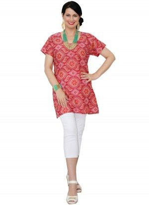 Abi Mid Length Red Tunic Top  AUD $24.95