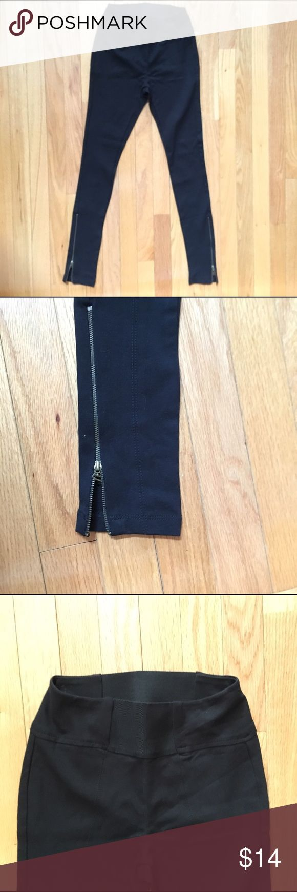 nwot high waisted thick black leggings ankle zip S Flattering leggings made of thick material these keep everything in place. Cute ankle zipper detail. Size small  Brand Mine Pants Leggings