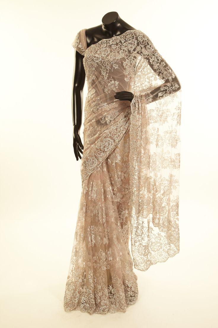lace light malt brown saree with blouse - Sarees